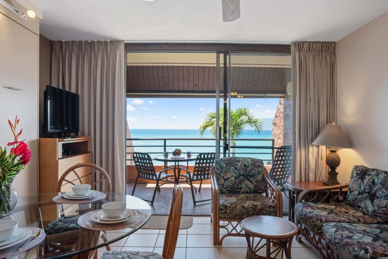Photo of living area and ocean view. Room 412