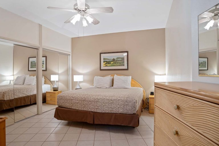 Photo of Bedroom with a King bed. Room 107