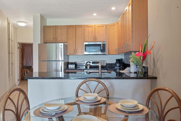 Photo of kitchen and dining table. Room 107