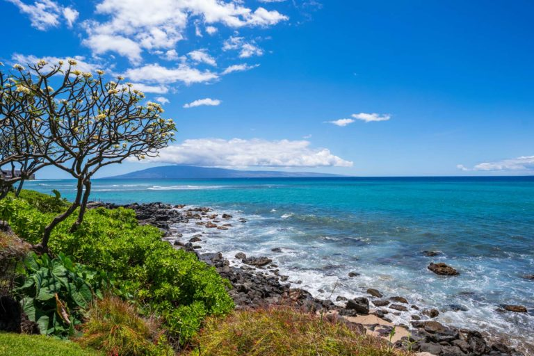 Photo of ocean view with the Lanai island in the background