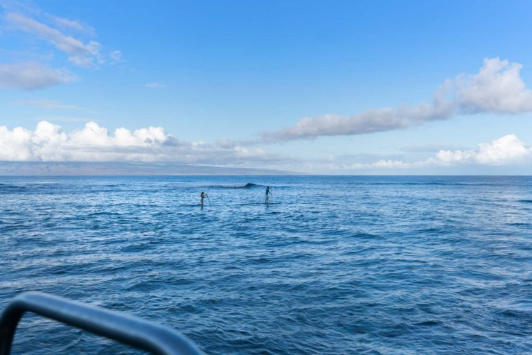 Photo of two people practicing SUP nearby
