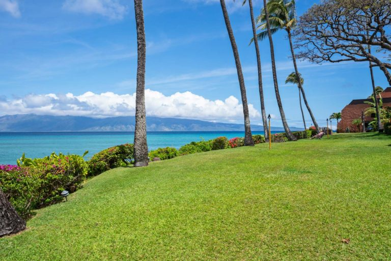 Resort grounds with the Molokai island in the background